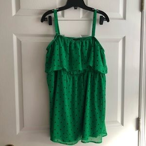 Torrid 3x bright green with black polka dot tank